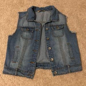 Denim Vest with Lace Detail